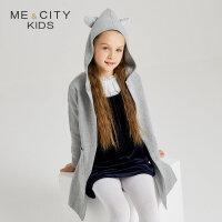 【全场2件2.5折,到手价:89.8】米喜迪mecity童装19秋装新款女童毛衣中长款侧边开叉连帽衫