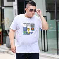 夏季男装短袖纯棉T恤胖子肥佬加肥加大码宽松休闲体恤半袖打底衫 6X 250斤左右
