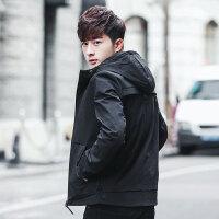 2018春新款男士韩版修身休闲风衣棒球服青少年学生外套连帽夹克男