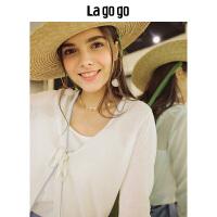 【5折价91】Lagogo/拉谷谷2018夏季新款蝴蝶结绑撞色V领针织衫HAMM735A24