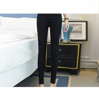 2018牛仔裤女小脚裤纯色休闲韩版铅笔长裤高腰弹力学生九分裤