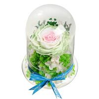 玻璃罩玫瑰花保鲜花摆件礼盒情人节生日礼物送女友