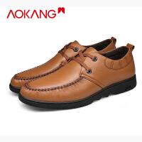 奥康商务休闲男鞋男士真皮商务皮鞋透气青年英伦系带皮鞋单鞋
