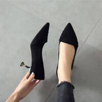 尖头猫跟鞋2018秋季新款少女高跟鞋细跟单鞋女中跟黑色时尚女鞋子