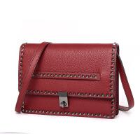 新款铆钉小方包油蜡皮大容量女包单肩斜跨女式包包时尚少女中性妈咪包手提化妆包 红色