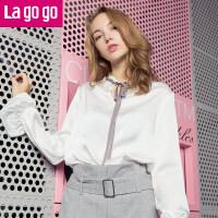 【3折价86.4】Lagogo2017秋季新款立领百搭上衣喇叭袖系带白色雪纺长袖衬衫女