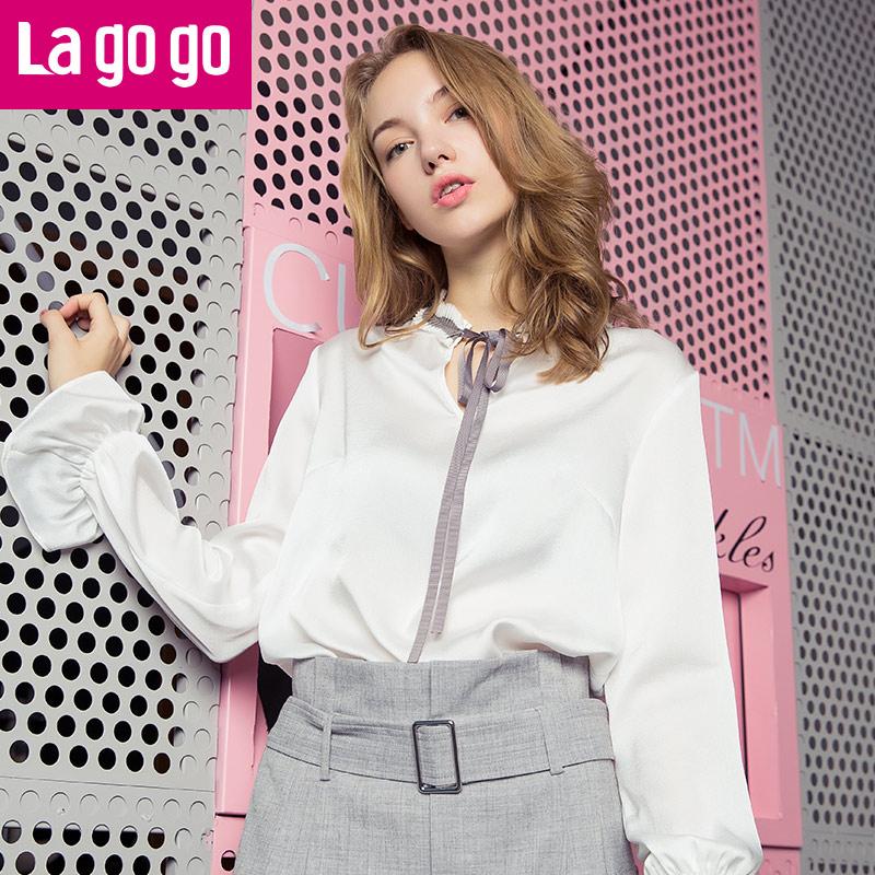 【清仓3折价71.7】Lagogo2019秋季新款立领百搭上衣喇叭袖系带白色雪纺长袖衬衫女