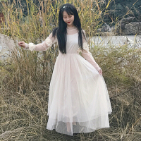 连衣裙两件套韩版春装立体花朵学生中长款网纱仙女裙+内搭吊带裙