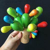 儿童木质制拼插积木 0123周岁宝宝早教益智仙人球拆装组合玩具
