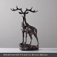 欧式麋鹿摆件客厅电视柜玄关家居饰品站鹿动物树脂摆饰创意工艺品 鹿
