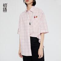 初语夏装新款 Polo领短袖衬衣休闲宽松趣味刺绣格子衬衫女~