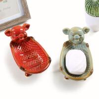 皂盒创意陶瓷可爱沥水肥皂盒玄关时尚卡通钥匙收纳盘摆件手工皂碟