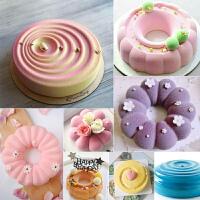 法式甜点硅胶慕斯蛋糕模具圆形花朵巧克力喷砂淋面矽胶慕斯蛋糕模