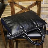 男包商务男士手提包横款公文包男单肩斜挎包休闲男士包包电脑皮包 黑色