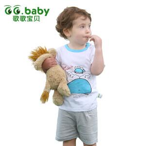 歌歌宝贝 夏季新款套装 婴幼儿短袖套装 宝宝套装外出服 宝宝外出上衣裤子