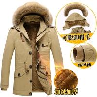 男士棉衣外套清仓秋冬季加绒加厚中长款夹克韩版修身帅气外衣