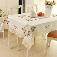 餐桌布艺田园欧式纯棉麻手绣花小清新现代简约台布茶几长方形盖巾