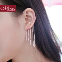 新年礼物Mbox耳环 女日韩国长款个性夸张大耳坠 气质复古无耳洞流苏耳饰品
