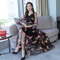 2018秋季新款女装韩版修身显瘦刺绣长裙绣花气质碎花长袖连衣裙女