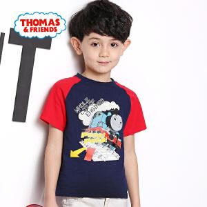 【促】托马斯正版童装男童夏装2018夏季新款全棉拼接色短袖圆领印花T恤上衣