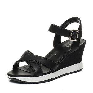 Tata/他她夏专柜同款牛皮拼接布一字带坡跟女凉鞋T2305BL7