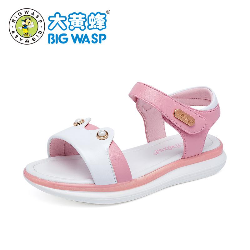 大黄蜂童鞋 女童凉鞋2018新款 夏季公主鞋韩版儿童学生软底平底鞋舒适软底 穿脱便捷