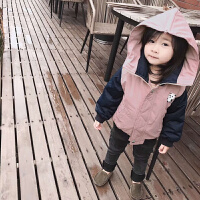 秋冬童装男童女童加厚夹棉款棉衣夹克蓝色藕粉色宝宝加厚外套