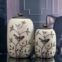 欧式陶瓷储物罐带盖防虫简约茶叶罐大号糖果罐子美式创意家居装饰摆件