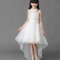 女童公主儿童礼服钢琴演出拖地拖尾中长款白色婚纱裙花童大童长裙