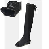 2018秋冬季新款长靴女士过膝性感显瘦弹力骑士靴舒适中跟瘦瘦靴子SN7732