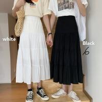 白色半身裙女褶�a字裙�凸鸥哐��@瘦a字裙中�L款�n版蛋糕裙百褶裙