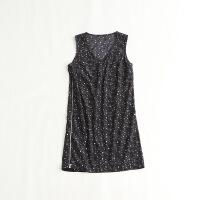 无袖连衣裙 圆领黑色星星印花包臀短裙42