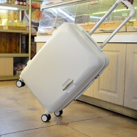 拉杆箱万向轮镜面皮箱旅行箱女男行李箱登机箱子20寸24密码拖箱包 米白色 (防刮磨砂)