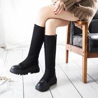 【每满150-50】乌龟先森 靴子 女士厚底高筒侧拉链圆头鞋子冬季新款韩版女式时尚休闲舒适百搭学生马丁靴