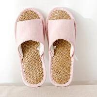 夏季居家拖鞋 草席pvc大底拖鞋 家居亚麻室内地板女情侣防滑拖鞋