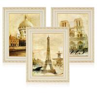 欧式装饰画客厅沙发背景墙挂画三联卧室建筑风景简欧壁画情迷巴黎 70*90(3.5米以上沙发推荐) 复式双框装裱