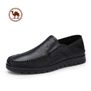 骆驼牌男鞋 2018春季新款男士商务休闲皮鞋男乐福鞋懒人套脚鞋子