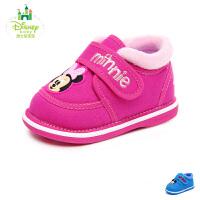 迪士尼disney童鞋冬款婴幼童宝宝鞋学步鞋加绒保暖婴儿鞋哔哔哨卡通萌趣步前鞋 (0-3岁可选) DH0203