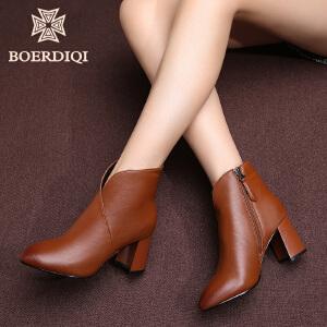 波尔谛奇冬季真皮尖头及踝短靴子女加绒小皮靴粗高跟马丁靴68076