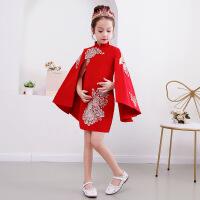 女童旗袍儿童唐装公主裙女孩中国风古筝乐器演出服小主持人礼服秋 红色