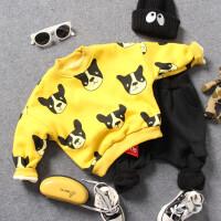 儿童加厚卫衣冬款男童小孩小狗印花中领百搭双层打底衫黄灰2色