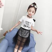 女童夏天套装新款韩版潮衣小女孩网纱裙子中大童t恤两件套潮