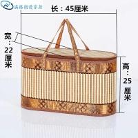 竹篮子手提年货特产挂面篮筐竹编水果香肠腊肉礼盒竹制品手提包装篮子日用直径户外
