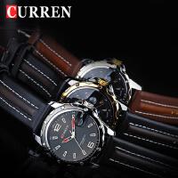 CURREN卡瑞恩8104韩国版时尚时装潮流男表皮带日历复古男士表