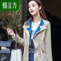 棉立方防风衣女中长款韩版春季2019新款女装气质淑女修身收腰外套