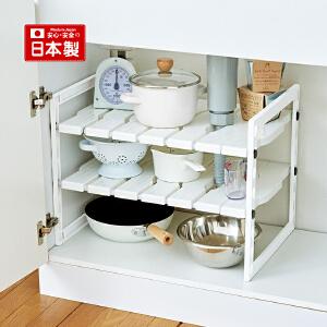 天马Tenma日本进口伸缩式厨房置物架多层落地免打孔收纳架省空间