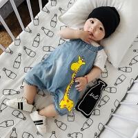 婴儿背带裤新生儿软牛仔长颈鹿0-2岁短裤韩版宝宝连身裤夏装