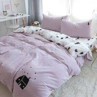 水洗棉四件套 纯棉1.8m双人床单被罩被套小清新床上三件套1.5