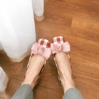 韩国气质百搭撞色格子平底鞋平跟单鞋女蝴蝶结舒适浅口方头鞋女鞋