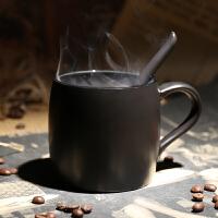 欧式咖啡厅创意磨砂马克杯 黑色高档带勺咖啡杯带盖陶瓷水杯子定制